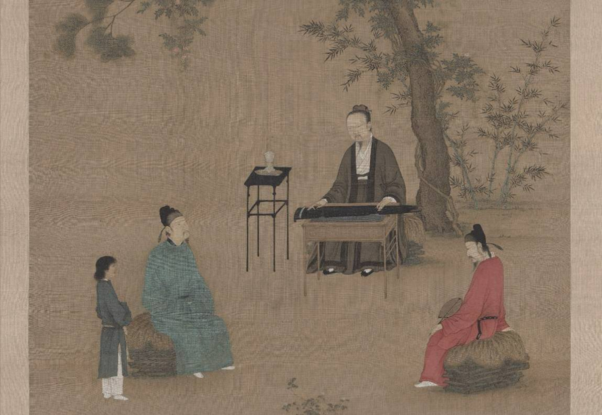 赵佶听琴图轴(局部)
