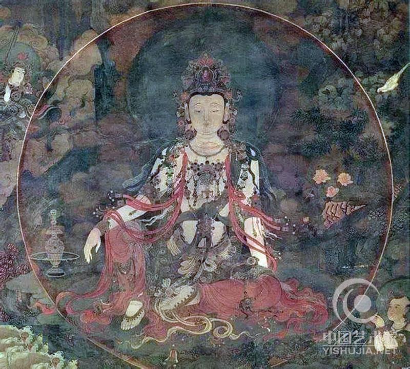 观世音菩萨,梵文Avalokitesvara的意译,水月观音是观世音菩萨三十三身像之一,名家名笔迭出,此像有多种形式,都与水、月有关。水中月,喻诸法无实体。本寺水月观音位於正殿佛像背后,坐南向北,画面宽高俱4.5米。