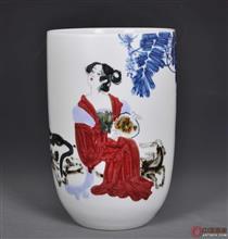 中国工艺美术大师李菊生-高温颜色釉《绿蕉浓阴夏日长》瓷瓶 高度34.5 肚径23