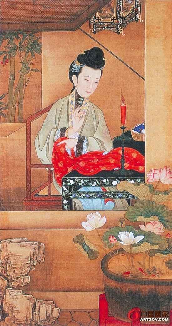 """揭秘故宫珍藏的""""十二美人图""""烛下缝衣"""