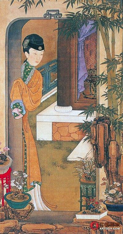 """揭秘故宫珍藏的""""十二美人图""""倚门观竹"""
