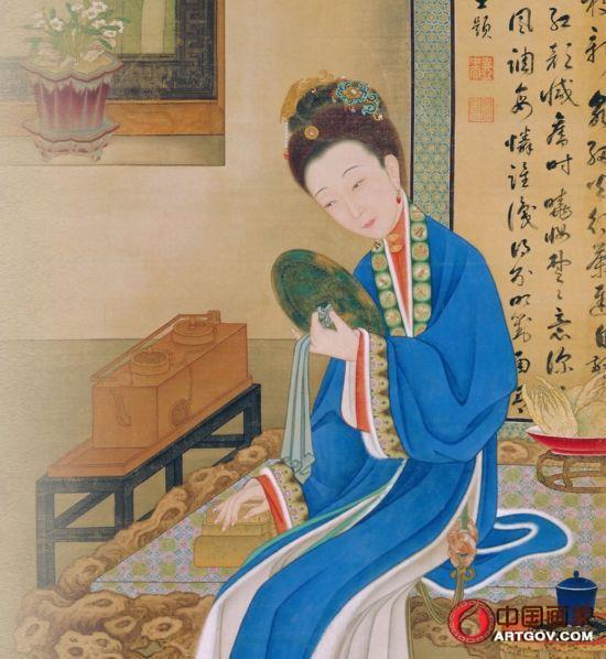 """揭秘故宫珍藏的""""十二美人图""""裘装对镜 清心寡欲"""