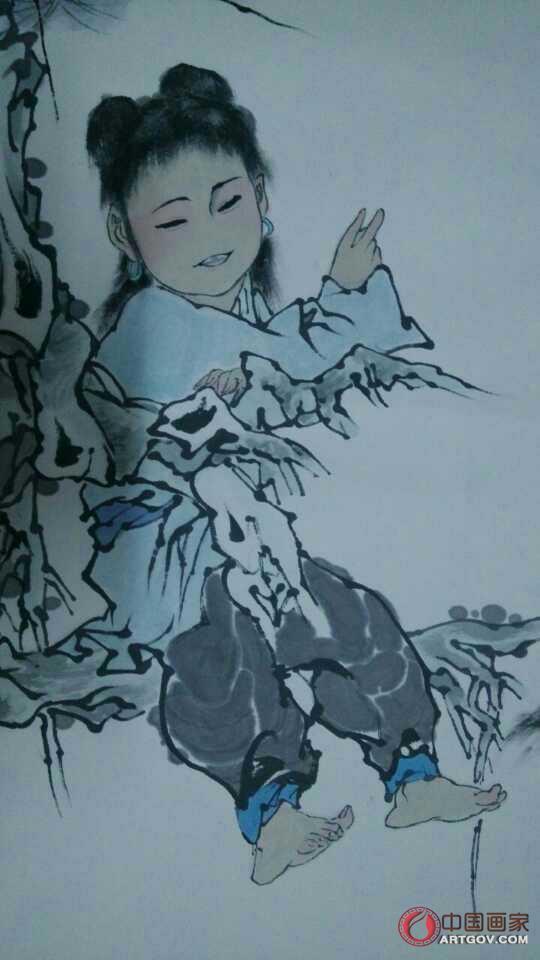 中国当代书画大家_范曾《笑指山林别有天》 佳作一幅