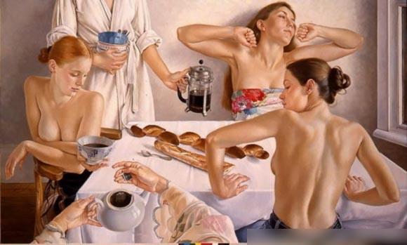 法国著名女画家弗朗辛.凡.霍夫的快乐生活