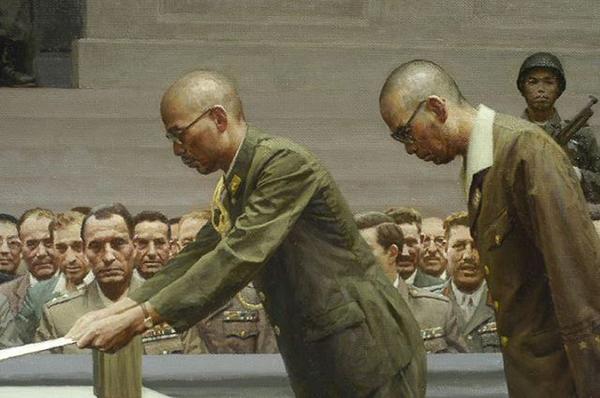 日本军国南京投降仪式油画赏析