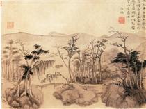 沈铉 平林远山图