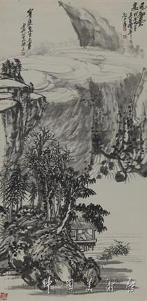 吴昌硕山水画作品 风壑云泉图