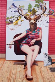 Emily Burns油画作品:鹿女