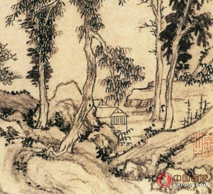 刘堪 疏林远山图