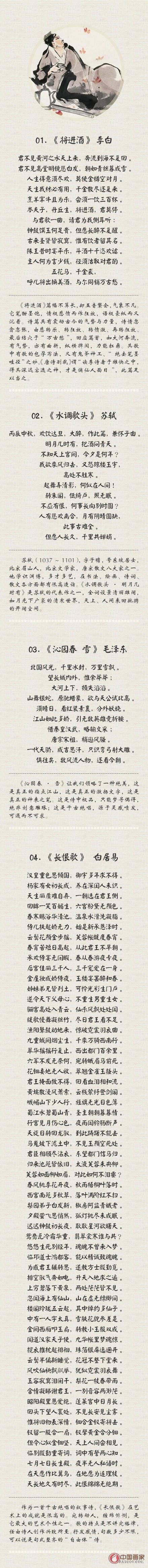 诗词,是中华文化瑰宝,千百年来为人传颂;诗词之中的翘楚,更是写尽世情,写尽古今。36首广为推崇的经典诗词,一文集纳,再赏中国诗词巅峰之美!