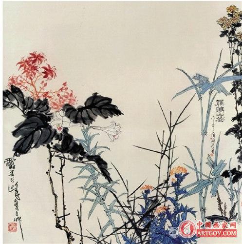 潘天寿 雁荡山花图 1963年 潘天寿纪念馆藏