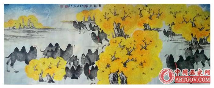 画家岩石【骆驼画】作品具有明显的西部特色和雄浑之风格